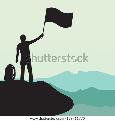 Silhouette of man with flag on top the high mountain - stock vector