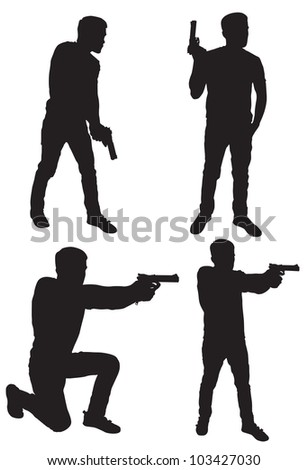 Silhouette of man with gun - stock vector