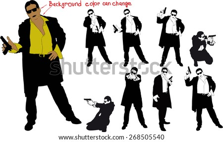 silhouette of man with gun and and suit. Shirt color and body can be easily changed - stock vector