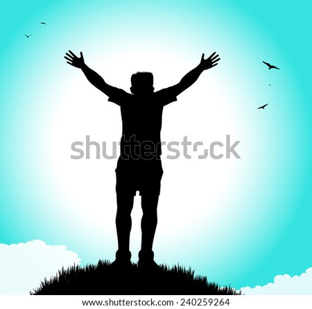 silhouette of man with open arms on hill
