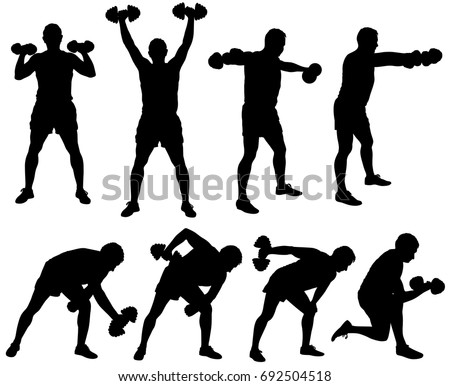 Silhouette of man working out with dumbbells. Icons of boy doing fitness exercises with weights for muscles of arms. Vector illustration of sport poses isolated on white background.