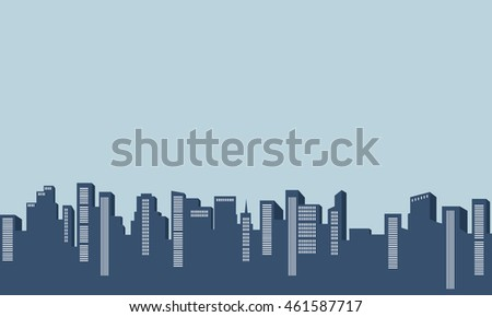 Silhouette of many building on blue backgrounds