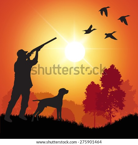 Silhouette of men on the duck hunting. Vector illustration - stock vector