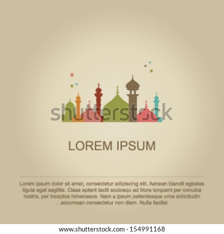Silhouette of Mosque or Masjid  background - stock vector