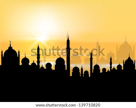 Silhouette of Mosque or Masjid in evening background, concept for Muslim community holy month Ramadan Kareem or Ramazan Kareem. - stock vector