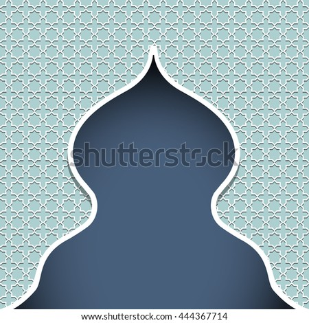 Silhouette of mosque.Traditional arabic style.Oriental ornament.Vector ornate pattern for greeting card template