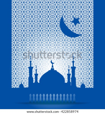 Silhouette of mosque with minarets and Crescent on geometric pattern. Concept for Islamic Muslim holiday for celebration holy month of Ramadan Kareem, Eid Mubarak, Mawlid birthday of prophet Muhammad - stock vector