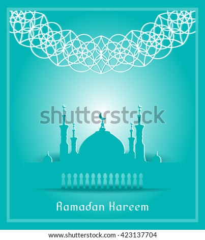 Silhouette of Mosque with Minarets and geometric ornament. Concept for Islamic Muslim holiday for celebration holy month of Ramadan Kareem, Eid Mubarak, Mawlid birthday of prophet Muhammad - stock vector