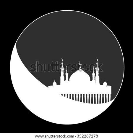 Silhouette of mosque with minarets on moon Crescent. Concept for Islamic Muslim holiday for celebration Mawlid birthday of prophet Muhammad, holy month of Ramadan Kareem, Eid Mubarak - stock vector