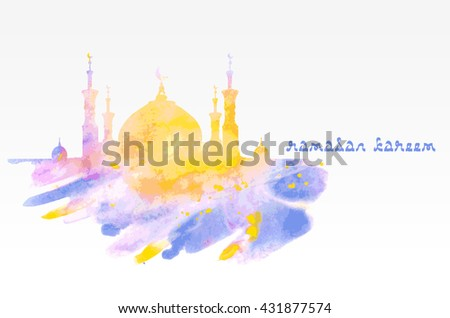 Silhouette of mosque with minarets on watercolor background. Concept for Islamic Muslim holiday for celebration holy month of Ramadan Kareem. Greeting card for Ramadan Kareem - stock vector