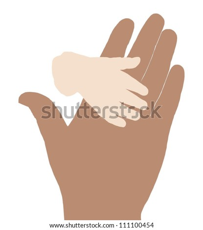 silhouette of mother and baby hands - stock vector
