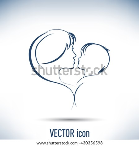 Silhouette of mother and the child. - stock vector