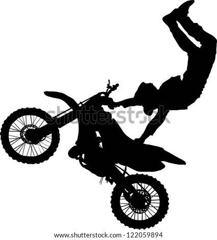 Silhouette of motorcycle rider performing trick - stock vector