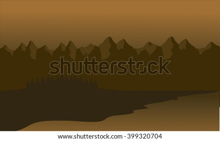Silhouette of mountain lined with brown background
