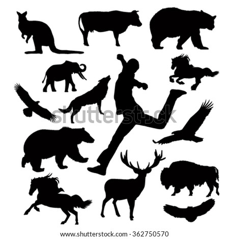 Silhouette of multiform animals and man. - stock vector