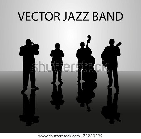 Silhouette of musical band - stock vector