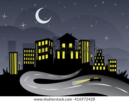 Silhouette of night city abstraction with the road leading to it. - stock vector