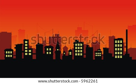 Silhouette of night city on red background - stock vector