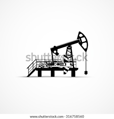 Silhouette of oil pump, vector illustration