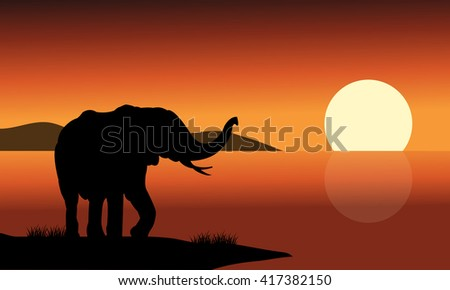 Silhouette of one elephant in beach at the morning - stock vector