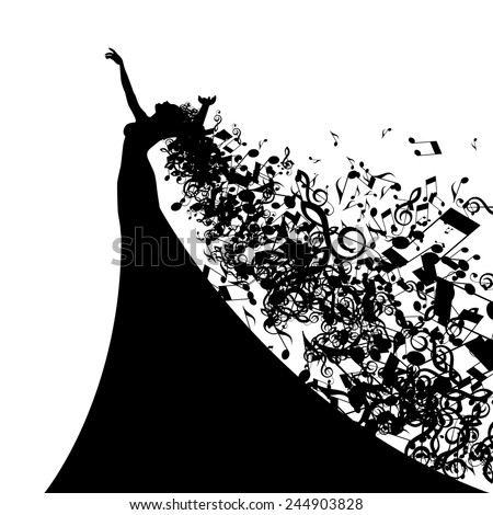 Silhouette of Opera Singer with Hair Like Musical Notes. Vector Illustration - stock vector