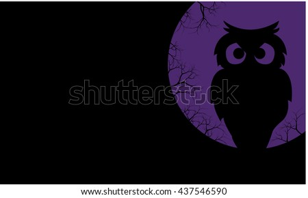 Silhouette of owl halloween backgrounds vector illustration