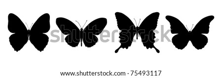 Silhouette of painting four black butterflies - stock vector