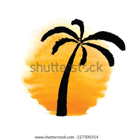 Silhouette of palm trees against the sun. Vector logo illustration. - stock vector