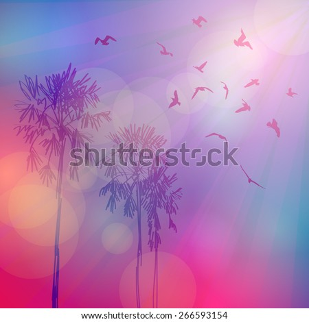 Silhouette of palm trees and birds, sky pink background, sunset, dawn. Vector - stock vector