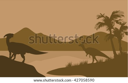 Silhouette of Parasaurolophus in lake with brown backgrounds