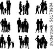 Silhouette of parents and children - stock photo