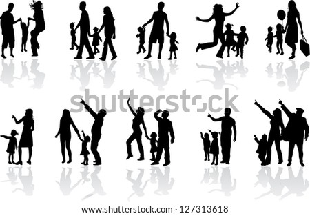 Silhouette of parents and children - stock vector