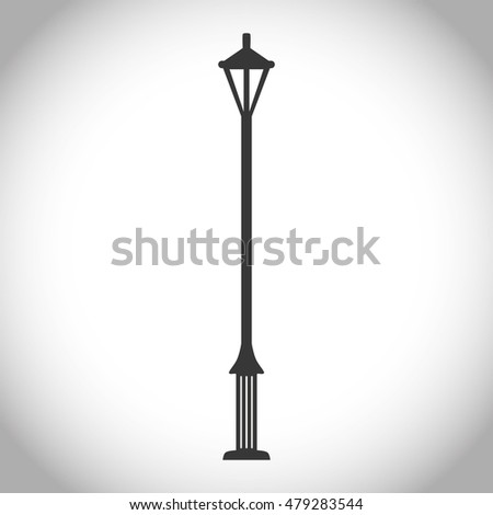 Silhouette of park lamp icon. Energy and decoration theme. Isolated design. Vector illustration