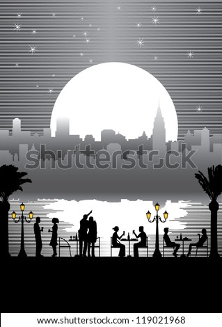 Silhouette of people dining outdoor at night, black and white vector - stock vector