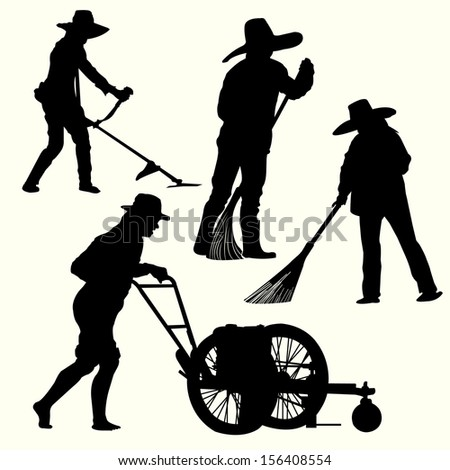 Silhouette of people gardening  - stock vector