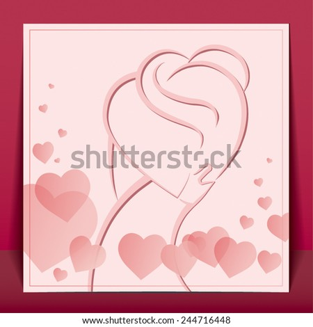 Silhouette of people in love the simple lines on the background of hearts.   Postcard for Valentine's day. - stock vector