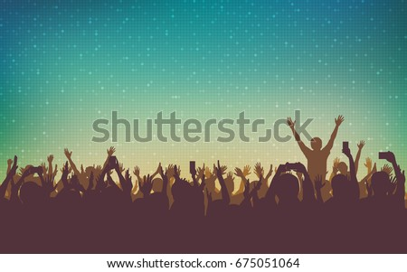 silhouette of people raise hand up in concert with smartphone and digital dot pattern on vintage color background
