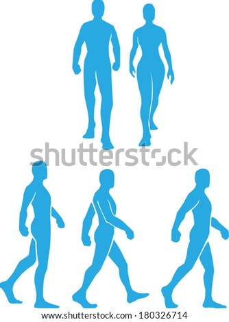 Silhouette of People Walking in Several Poses - stock vector