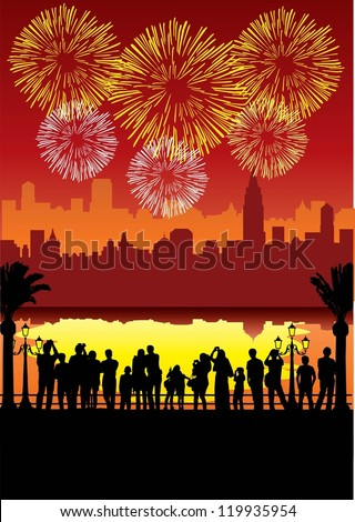 Silhouette of people watching and taking photos fireworks at night on New Year's Eve, Vector - stock vector