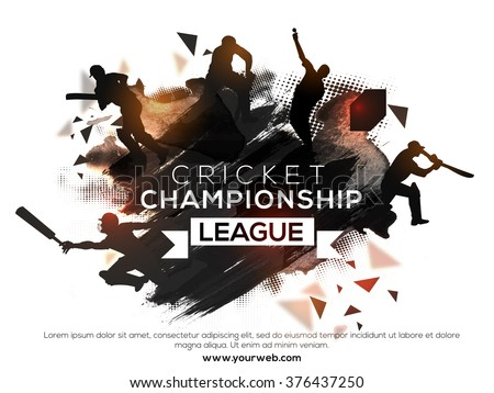 Silhouette of players in different playing actions on abstract paint stroke background for Cricket Championship League concept. - stock vector