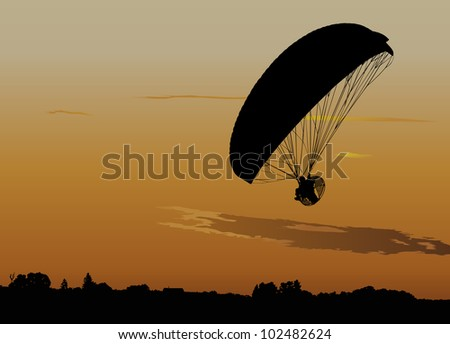 Silhouette of powered paraglide or paramotor against sunset sky - stock vector
