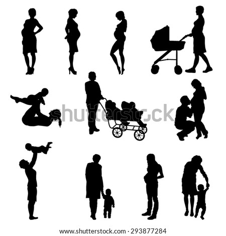Silhouette of Pregnant Woman and Moms With Children - Vector Image