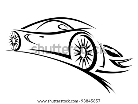 Silhouette of racing car for sports design. Jpeg version also available in gallery - stock vector