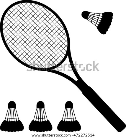 silhouette of racket and badminton shuttlecocks