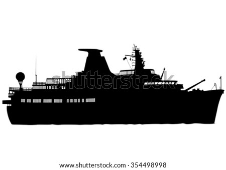 Silhouette of retro ship on white background - stock vector