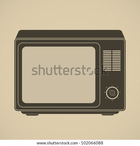 Silhouette of retro tv set. This vector image is fully editable.