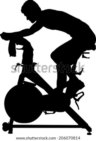 Silhouette of rider in a spinning exercise class. - stock vector