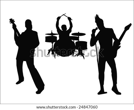 silhouette of rock band - stock vector