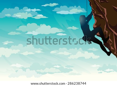 Silhouette of rock climber on a blue cloudy sky. Vector illustration of sport. - stock vector