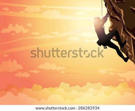 Silhouette of rock climber on a sunset sky. Vector illustration of sport. - stock vector